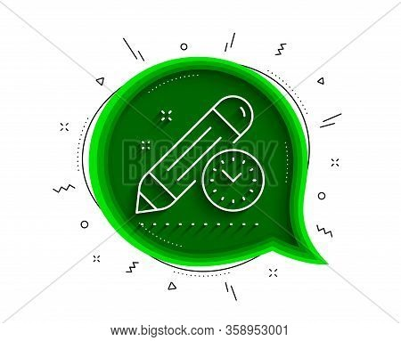 Project Deadline Line Icon. Chat Bubble With Shadow. Time Management Sign. Clock Symbol. Thin Line P