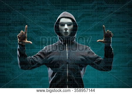 Dangerous Hacker Over Abstract Digital Background With Binary Code. Obscured Dark Face In Mask And H