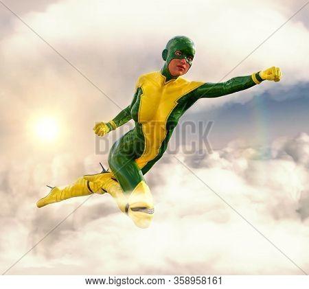 Powerful Female Costumed Superhero Flying Through Cloudy Sky, 3d Render.