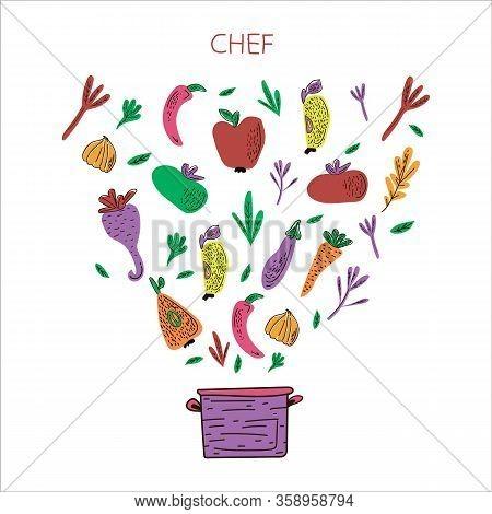 Cooking Flat Hand Drawn Illustration Set For A Chef. Design Elements Of Kitchen Utensils, Vegetables
