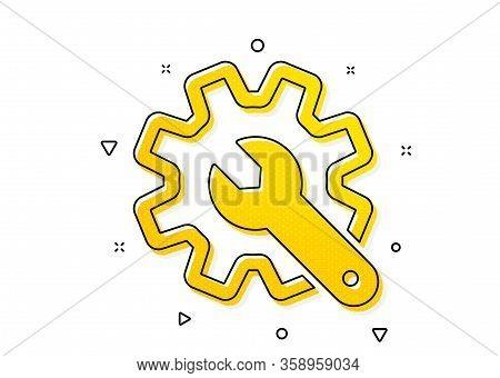 Settings Or Editing Sign. Customisation Icon. Repair Symbol. Yellow Circles Pattern. Classic Customi