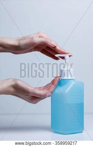Hand Sanitizer Alcohol Gel Rub Clean Hands Hygiene Prevention Of Coronavirus Virus Outbreak. Woman U