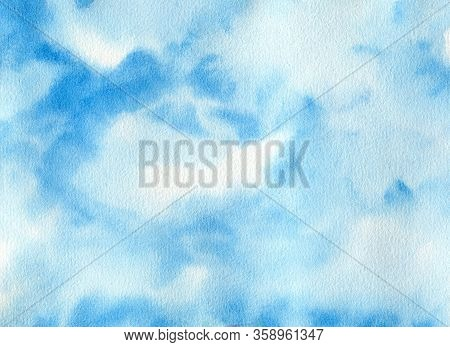 Hand Painted Watercolor Abstract Background With Copy Cpace For Text. Sky Shades Simple Blue Color I