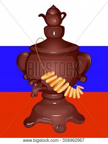 Russian Samovar With A Teapot, Bagels On The Samovar. Flag Of Russia. Isolated. Vector
