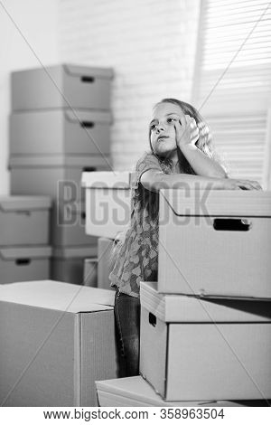 Forced To Move. Girl Child And Boxes. Move Out Concept. Prepare For Moving. Rent House. Kid Moving O