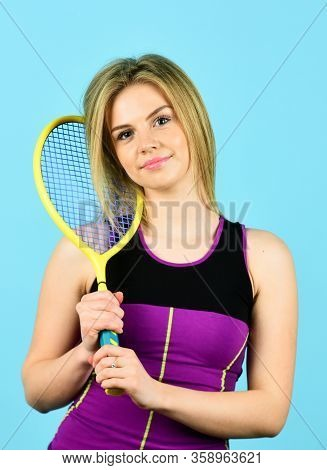 Looking Fit And Sporty. Beautiful Female Tennis Player. Woman With Racket. Girl On Tennis Court. Pro