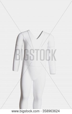 Headless Invisible Mannequin With Removable Pieces, Isolated On White Background.