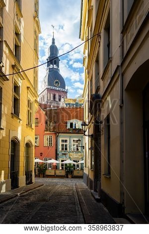 Riga, Latvia - Circa Aug, 2013: View On Dom Cathedral (doma Baznica), From Another Street In Riga, L