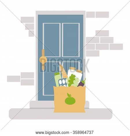 Contactless Of Food Concept.  Vector, Food Bag Is On The Doorstep. Home Delivery Paper Bag