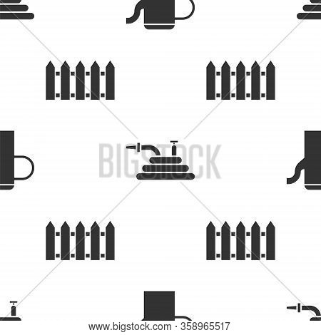 Set Watering Can, Garden Hose Or Fire Hose And Garden Fence Wooden On Seamless Pattern. Vector
