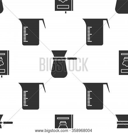 Set Cookbook, Coffee Turk And Measuring Cup On Seamless Pattern. Vector