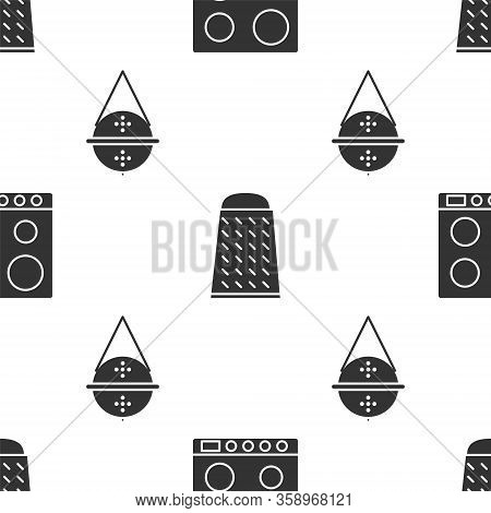 Set Gas Stove, Grater And Ball Tea Strainer On Seamless Pattern. Vector