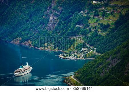 Fjord Geirangerfjord With Cruise Ship, View From Flydasjuvet Viewing Point, Norway. Travel Destinati