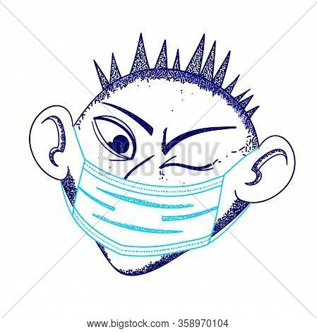 Coronavirus In China. Coronavirus 2019-ncov , A Man In A White Medical Face Mask. Covid-19