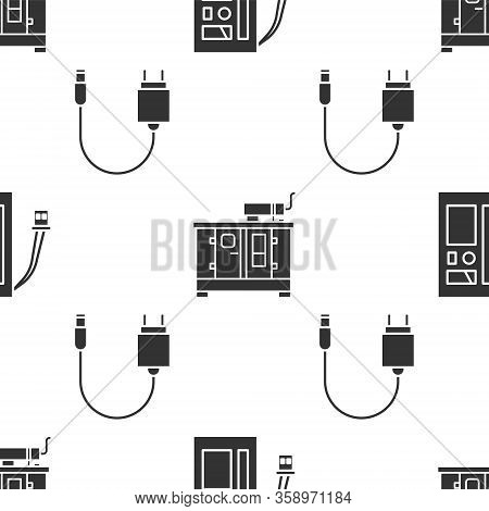 Set Battery, Diesel Power Generator And Charger On Seamless Pattern. Vector
