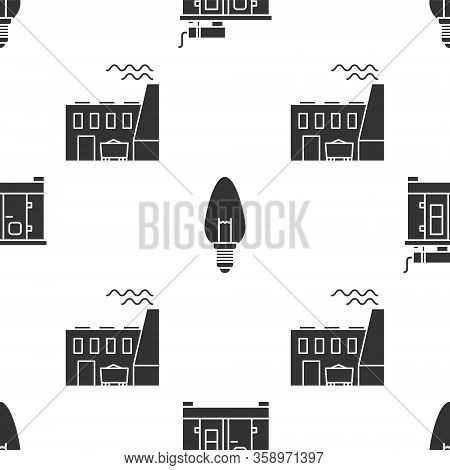Set Diesel Power Generator, Light Bulb And Coal Power Plant And Factory On Seamless Pattern. Vector