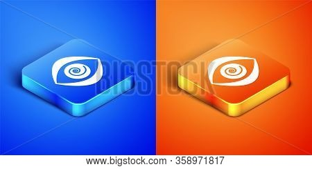 Isometric Hypnosis Icon Isolated On Blue And Orange Background. Human Eye With Spiral Hypnotic Iris.