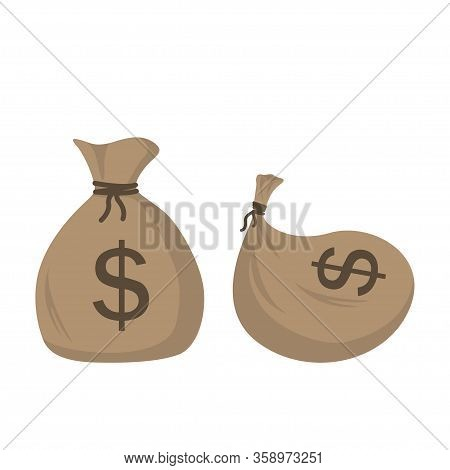 Illustration Of A Sack With Gold Coins. Two Sack Gold.