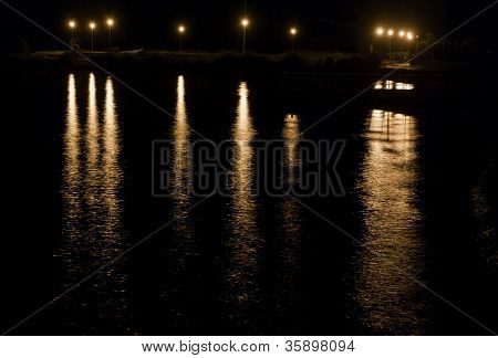 pier at night in summer