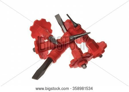Pile Of Inox Chisels With Red Rubber Protective Grip, Isolated On White Background