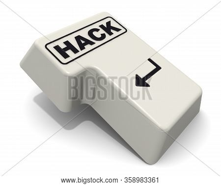 The Enter Key Of Keyboard Labeled Hack. Computer Enter Key Of Keyboard With Black Word Hack Isolated