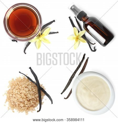 Set Of Vanilla Extract, Pudding And Sugar On White Background