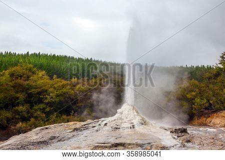 The extinction of the daily eruption. The world famous Lady Knox geyser. The largest geyser-like feature in the world. North Island, New Zealand. The concept of exotic, ecological and photo tourism