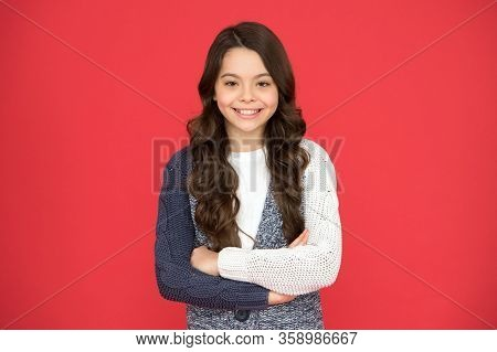 Natural Curls. Confident Posture. Adorable Smile. Kid Cute Face Adorable Curly Hairstyle. Kid Girl L