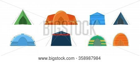 Multi Colored Tents For Camping In The Nature And For Outdoor Celebrations. Set Of Tents Isolated On