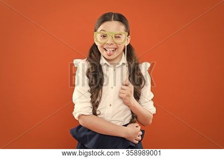 Child Smart Look Through Photo Booth Props Eyeglasses. Small Kid Wearing Eye Glasses In Smart Style.