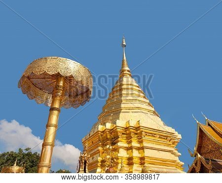 Panorama Of Golden Stupa At Wat Phra That Doi Suthep Temple In Chiang Mai, Northern Thailand. Golden