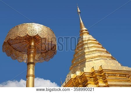 Golden Stupa At Wat Phra That Doi Suthep Temple In Chiang Mai, Northern Thailand. Golden Chedi Domin