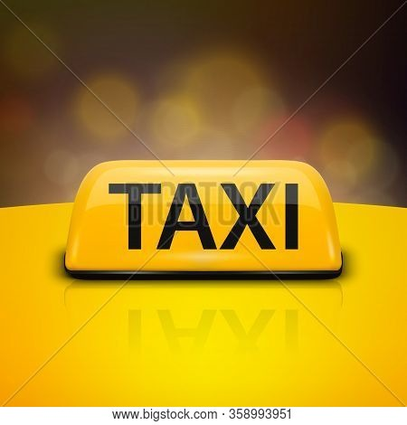 Vector 3d Realistic Yellow French Taxi Sign On Car Roof Closeup On Night City Background. Design Tem