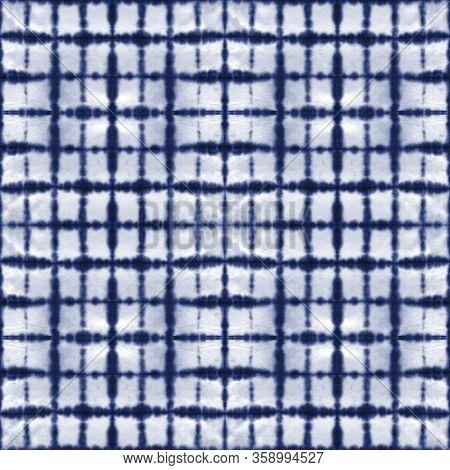 Tie Dye Shibori Seamless Pattern. Watercolor Hand Painted Indigo Blue Navy Ornamental Elements On Wh