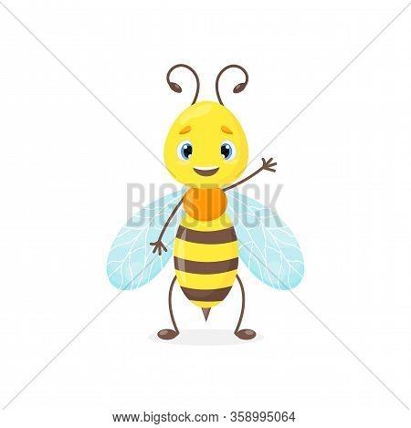 Cartoon Bee Or Wasp, Bumblebee Cute Vector Mascot For Logo, Nursery Goods, Natural Organic Food Or H