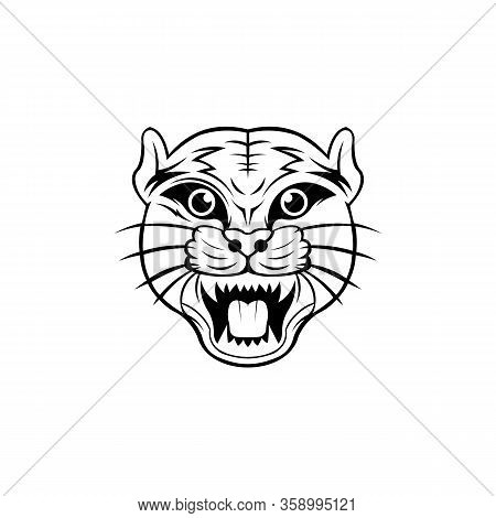 Puma Or Lioness Sneaks On Its Paws, Woodland Animal Head Icon  Angry Puma.