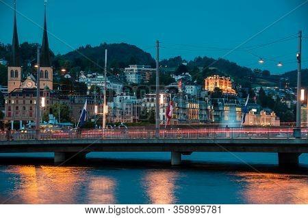 Historic City Center Of Lucerne, Bridge And River Reuss. Nice Summer Evening.