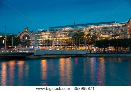 Views Of The Railway Station In Lucerne, Switzerland. Evening European City.