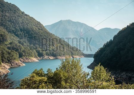 Green Mountains, South Of Switzerland. Bed Of The Versasca River In Lavertezzo,