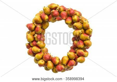 Letter O From Pears, 3d Rendering Isolated On  White Background