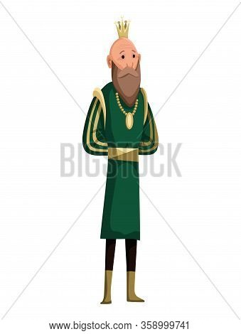 Cartoon Tall King Wearing Crown And Mantle. King Standing. Color Vector Illustration
