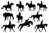 Black and white vector illustration with ten riders and their horses poster