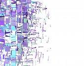 abstract fragmented pattern in purple blue on white poster