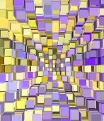 3d abstract fragmented cube pattern purple yellow backdrop poster
