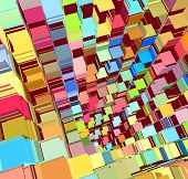 3d abstract fragmented in bright colored pattern poster