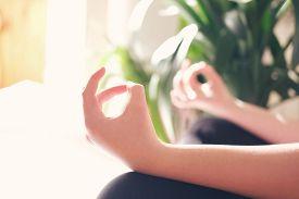 Teenage Girl Or Young Woman Yoga Lesson At Home During Coronavirus Pandemic, Breathing, Meditating,