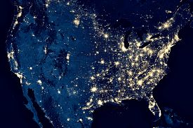 Earth At Night, View Of City Lights In United States From Space. Usa On World Map On Global Satellit