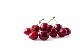 Red Cherries Isolated On White. Cherry Isolated On White Background Cutout. Sweet And Juicy Berry Wi