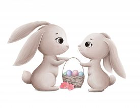 Two Cute Little Bunnies With Easter Basket. Digital Illustration