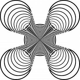 Abstract Arabesque Spider Like Circle Game Structure Illusion Perspective Design Black On Transparen